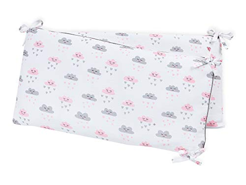 KraftKids Nestchen Musselin weiß Wolken, Bett-Umrandung für Baby-Bett pass. f. Bettgröße 120 x 60 cm, Baby-Nest mit separatem Außenbezug