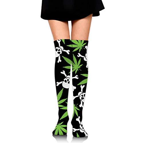 Hengtaichang medias Girls Women Warmer Thigh Cotton Thick Compression Socks Athletic Travel Football Outdoor Socks Over Knee High Long Tube Weed Skull Crossbones Black Stockings
