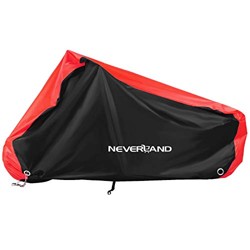 NEVERLAND Motorcycle Cover Waterproof 210D Large Size Motorbike Cover Oxford with 4 Lock Holes Windproof Buckle Elastic Band Storage Bag for Outdoor Protection Anti Dust Rain Sun Snow(220*95*110cm)