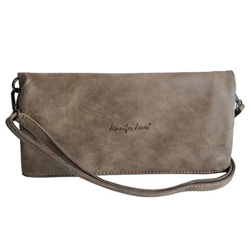 Umhängetasche Foldable von Jennifer Jones - 2 Style DamenHandtasche, Damentasche, Schultertasche, Abendtasche mit Magnetverschlüssen (Braun) - präsentiert von ZMOKA®