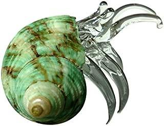 Sansukjai Seashell Hermit Crab Miniature Figurines Beach Animals Hand Blown Glass Art Natural Collectible Gift Decorate#8