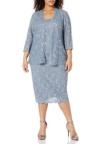 Alex Evenings Women's Plus Size Lace Jacket Dress, Steel Blue, 14W