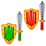 Inflatable Pixel Sword and Shield for Kids (2 Sets) Medieval Combat Ninja Warrior Knights Weapons Role Pretend Play Kids Video Game Party Favors Mine Pixel Craft Swords Toys by 4E's Novelty