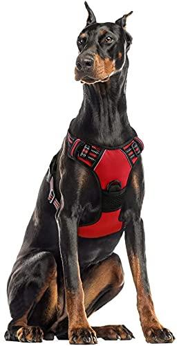 rabbitgoo Rojo Arnés Grande para Perros Arnés Antitirones Perros Arnés Perro Coche con Anillos Fuertes Líneas Reflectantes Tamaño XL Extra Grande