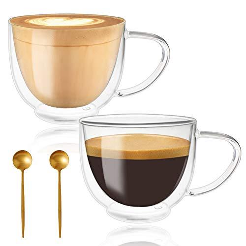 Juego de 2 tazas de café para café y té, tazas de cristal con doble pared con mango grande, tazas transparentes cada una de 7.5 oz, 200 ml, expreso, latte, capuchinos y bebidas, con 2 cucharas