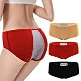 BOZEVON Bragas del Período Menstrual - 3/4/5 Paquete Ropa Interior de Protección Elástica Cintura Media Antifugas Ropa Interior de Mujer, (Rojo+Negro+Albaricoque)/L