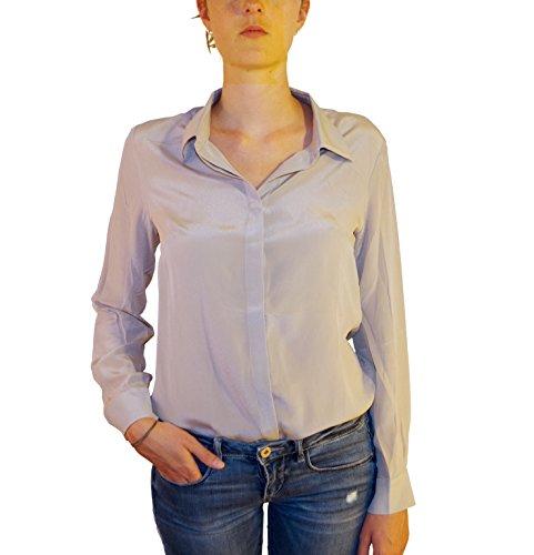 Posh Gear Damen Seidenbluse Camicina Bluse aus 100% Seide, grau, Größe M