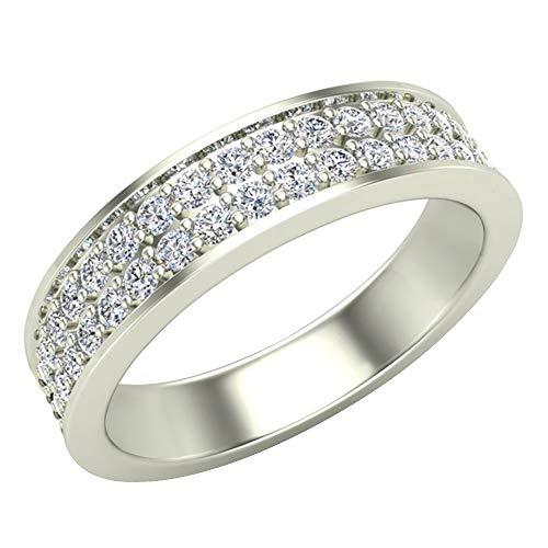 Alianza de boda para hombre G I1 con diamantes de 0,75 quilates, de dos filas y medio camino para hombre, oro blanco de 14 quilates, 5 mm (tamaño del anillo 8)