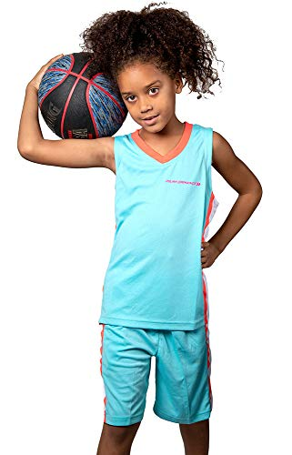 PAIRFORMANCE Premium Basketball Uniforms for Kids, Sizes 4/12, Boys and Girls Sports Activewear Matching Color Sets (Light Blue, Small)