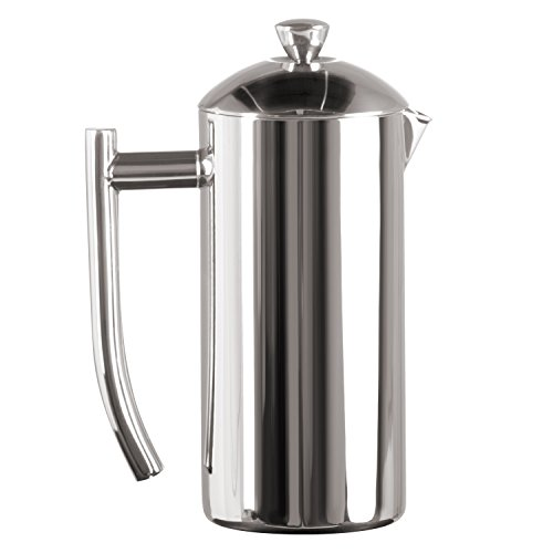 Frieling USA Double Wall Stainless Steel French Press Coffee Maker with Zero Sediment Dual Screen, Polished, 17-Ounce