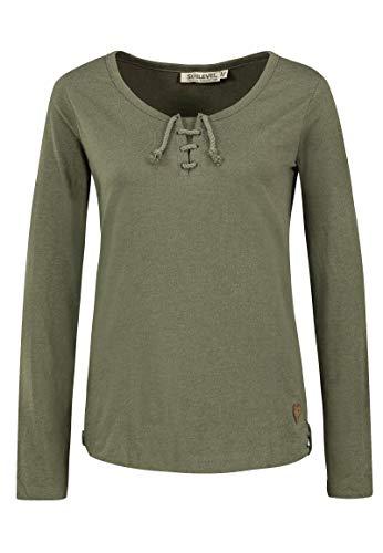 Sublevel Damen Basic Langarm-Shirt mit Kordeln Rundhals Green XXL