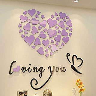 zy Loving you heart shape wall sticker DIY 3D acrylic Wall Sticker home bedroom Living room TV background decor wall decal,purple color