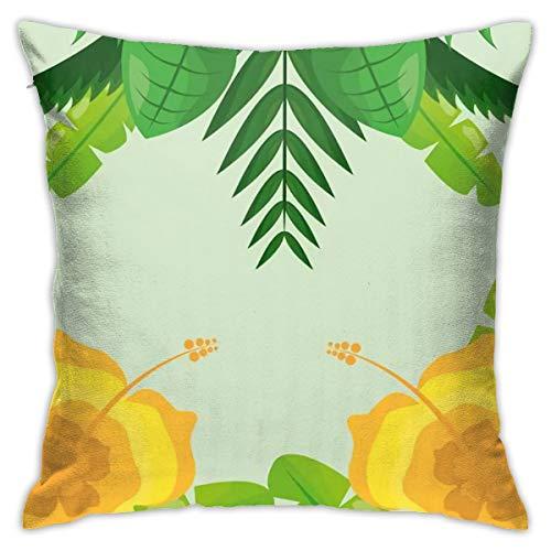 Funda de almohada decorativa impresa con diseño de hojas tropicales de 48 x 48 cm.