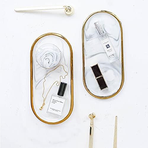 Plato ovalado de cerámica de mármol, elegante anillo plato de joyería, placa de postre, organizador de cosméticos para decoración del hogar, regalo de boda (color: gris)