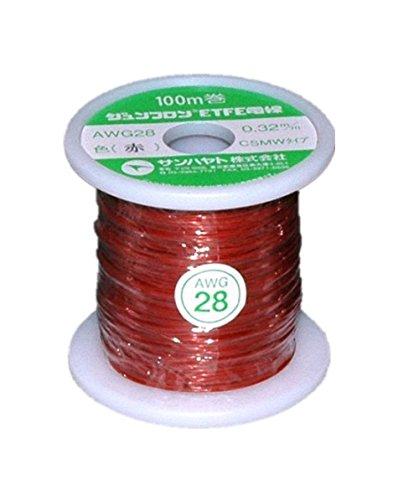 サンハヤト ジュンフロン(R)ETFE電線 AWG28-100m:赤