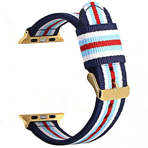 LIANYG Correa De Reloj Reloj Watch Watch 38mm 40mm Nylon Wamkband Correa de Reloj 42mm 44mm Pulsera de muñeca 493 (Band Color : 19 Gold, Band Width : 38mm)