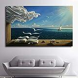 Imbelish Canvas Painting The Waves Book Sailboat Canvas Poster Print para la sala de estar Inicio Decoración de la pared 60x90CM