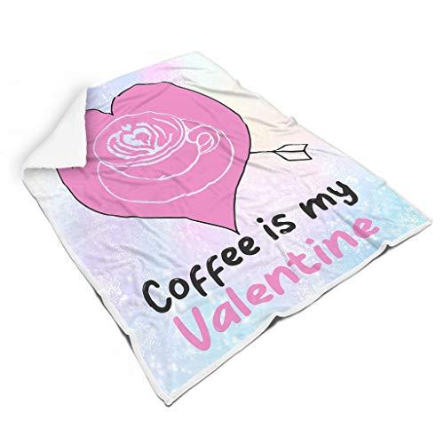 STELULI Blankets Coffee is My Valentine Original Office Wear - Albornoz con estampado retro para estudio de biblioteca para adultos, color blanco