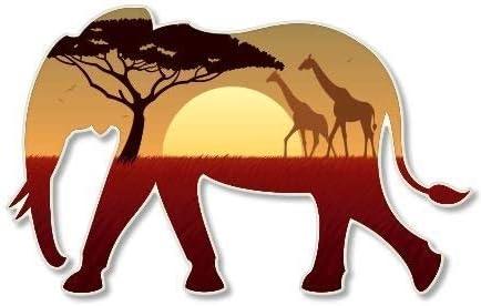 Elephant African Landscape Vinyl Sticker Car Phone Helmet Bumper Sticker Decal product image