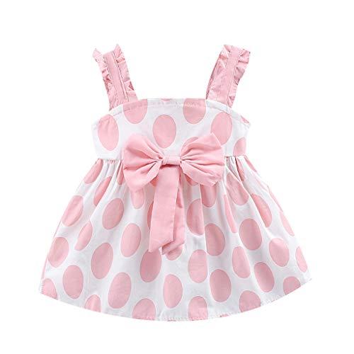 IMJONO 0-3 Ans Robe Bébé Fille Été Robe Bebe Fille Bapteme Ceremonie Robe Princess Noeud Coton Enfant Robe Anniversaire Cadeau Naissance(Rose,6-12 Mois