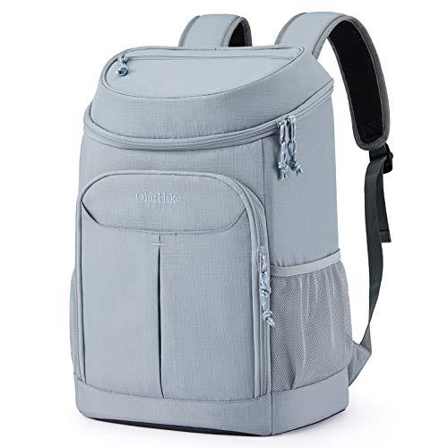OlarHike Cooler Backpack, Soft Waterproof 30 Cans Backpack Cooler Bag for Picnics Hiking Camping (Grey)