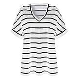 Women's 3/4 Sleeve Zipped V Neck Plaid Tunic Shirt...