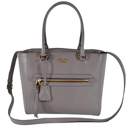 Prada Glace Calf Twin Pocket Tote Gray Leather Tote Bag 1BG227