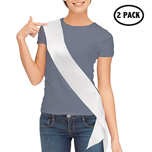 TREORSI Blank Satin Sash, Plain Sash, Party Decorations, Make Your Own Sash (2 Pack, White)