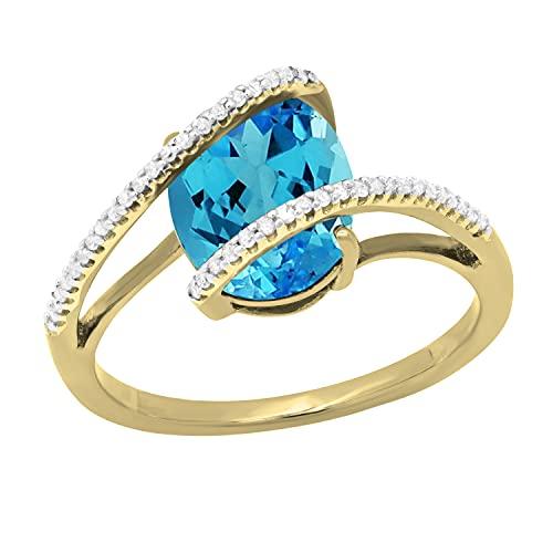 Dazzlingrock Collection Anillo de compromiso para mujer con topacio azul ovalado y diamante blanco redondo de 10 x 8 mm, oro amarillo de 10 quilates, talla 7,5
