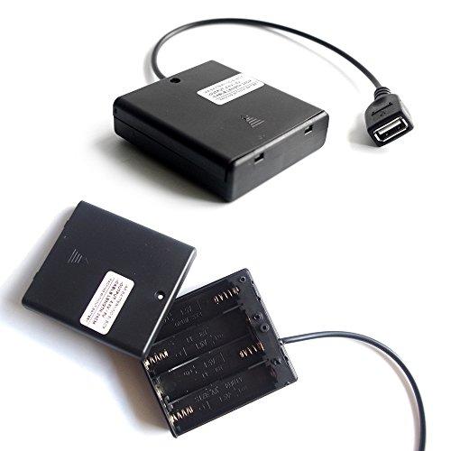 Caja del compartimiento de la batería AA del zócalo USB 4 hembra negro Salida de 4,8 voltios / 6 voltios con interruptor apagado,1 PCS