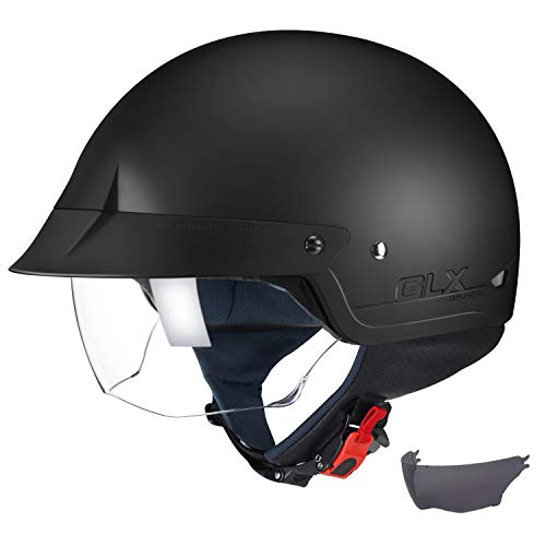 GLX Unisex-Adult Size M14 Cruiser Scooter Motorcycle Half Helmet with Free Tinted Retractable Visor DOT Approved (Matte Black, Large)