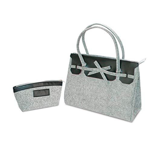 Compack Kelly Tasche Chic Filz, Grau, Tasche: 320 x 130 x 240 mm/Kulturbeutel: 220 x 65 x 12 mm, 2