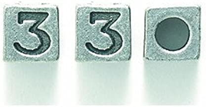 Shipwreck Beads Pewter Cube Bead, Number 3, Metallic, Silver, 5mm, 8-Piece