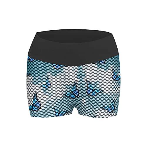 Pudyor Pantalones Cortos de Impresión en Color Pantalón Deportivos Levante los Cadera Malla de Yoga Transpirables Elásticos Leggins de Cintura Alta Shorts de Yoga para Correr Gym Fitness
