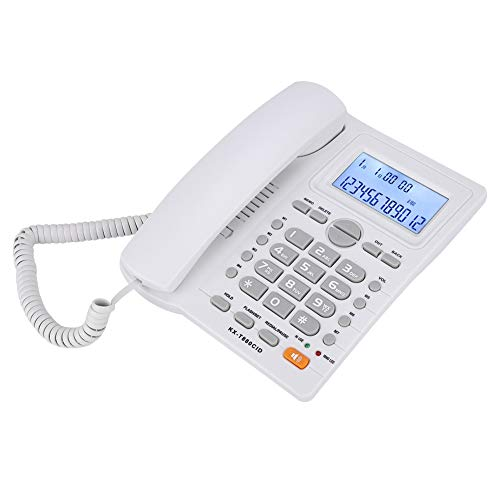 Gatuxe Teléfonos con Cable, con Altavoz Teléfono Fijo con Cable, para Uso en el hogar de la Oficina para Uso en la Oficina en el hogar(White, Black)