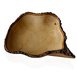 RoRo hand-crafted 16 in sustainable mango wood fruit bowl with bark edges