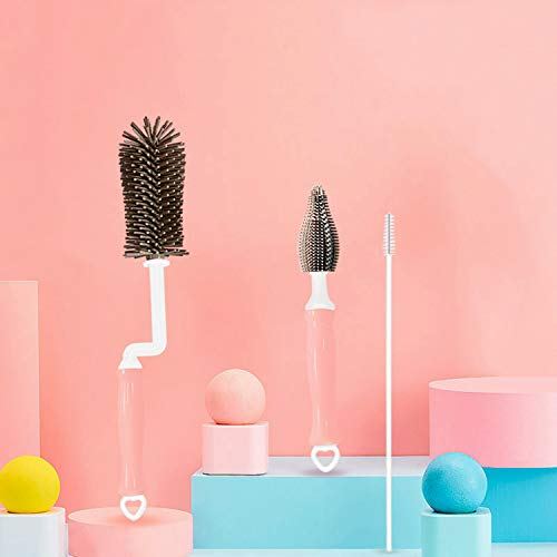 Silicone Bottle Brush, 360 Degree Rotating Baby Bottle Cleaning Brush, Long Handle Kitchen Cleaner for Washing Glass, Baby Bottles, Mugs, Narrow Neck Water Sport Bottles, Set of 3