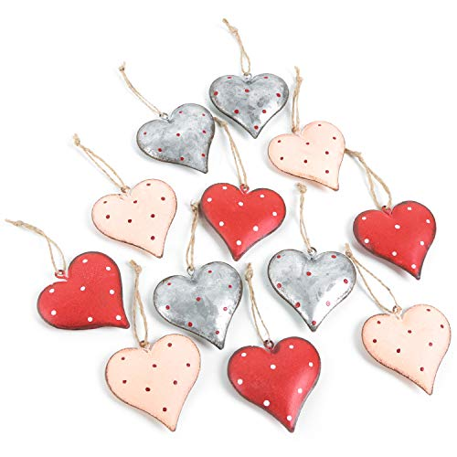 Logbuch-Verlag 12 Herz Anhänger aus Metall rot Silber beige 6 cm - Herzanhänger Set als Frühlingsdeko Osterdeko Hochzeitsdeko zum Aufhängen