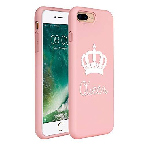 ZhuoFan Cover iPhone 7 Plus /8 Plus, Custodia Cover Silicone Rosa con Disegni Ultra Slim TPU Morbido Antiurto 3D Cartoon Bumper Case Protettiva per iPhone 7 Plus /8 Plus, Regina Bianca