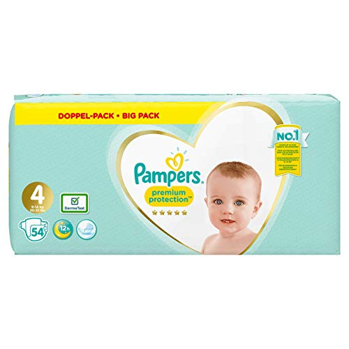 Pampers Premium Protection Windeln, Gr. 4 (9-14 kg) , Jumbopack, 1er Pack (1 x 54 Stück)