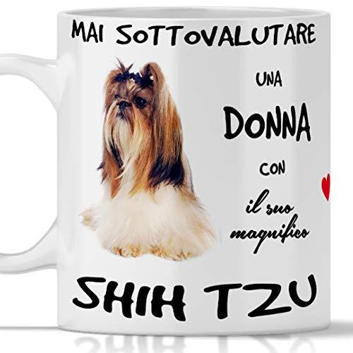 Taza Shih Tzu para desayuno, té, tisana, café, capuchino. Gadget taza nunca subestimar una mujer con un perro Shih Tzu. Idea de regalo original