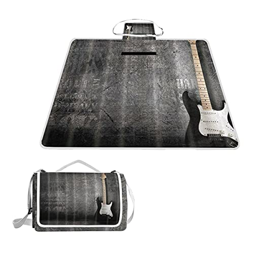 WINCAN Manta de picnic impermeable y plegable,Música Guitarra eléctrica Instrumento musical Vintage Black Wall PORTÁTIL Estera de Playa Alfombras Anti-Arena para Parque campamento Conciertos,145*150cm