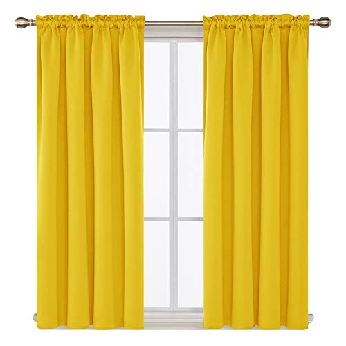 Deconovo Room Darkening Curtains Blackout Curtain with Rod Pocket Yellow Curtains for Kids Room 42Wx54L Inch Mellow Yellow 2 Panels