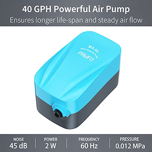 Pawfly MA-60 Quiet Aquarium Air Pump for 10 Gallon with Accessories Air Stone Check Valve and Tube, 1.8 L/min