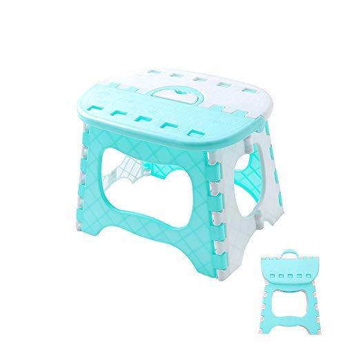Klappbarer Tritthocker aus Kunststoff, tragbar, für Küche, Bad, WC (blau)
