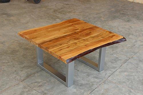 KAWOLA Couchtisch mit Baumkante Holz massiv Fuß Silber 80x80x42,50cm (B/T/H)
