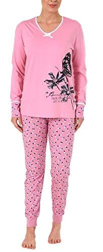 Damen Schlafanzug Pyjama Langarm mit Spitze, abgesetzten Bündchen und Blumem Tupfen Design, Farbe:rosa, Größe2:46