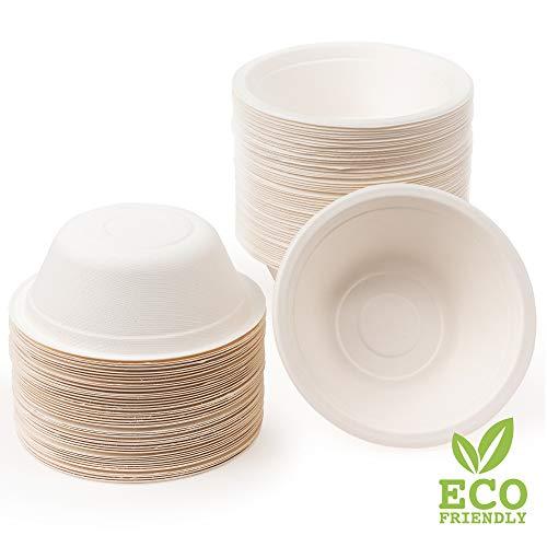 100 Premium Einwegschalen Zuckerrohr, 350ml| Umweltfreundlich, Biologisch Abbaubar & Kompostierbare - Starke & Stabil| Suppenschale Schüssel Papierschalen - Flüssigkeitsdicht & Mikrowellenfest.