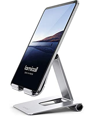 Lamicall Tablet Stand, Adjustable Tablet Holder - Foldable Desktop Stand Mount Dock for iPad Pro 12.9, 11, 10.5, 9.7, iPad Air mini 2, 3, 4, Switch, Samsung Galaxy Tabs, iPhone, other Tablets - Silver
