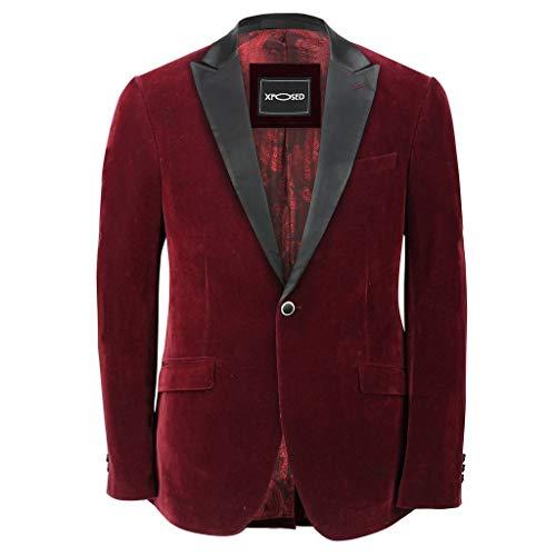 Chaqueta de cena formal para hombre, de terciopelo suave, color granate y negro Rojo granate 38